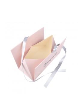 Caja de carton automontable con lazo para joyas bisuteria y joyeria color rosa cuarzo abierta fl-2-r