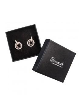 Caja de carton forrada de papel negro para juego colgante sortija anillo y pendientes de joyeria y bisuteria EP61