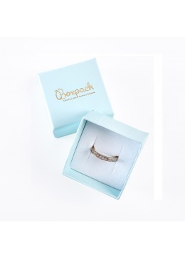 Caja de carton forrada de papel para anillo sortija de joyeria y bisuteria O-FS-42