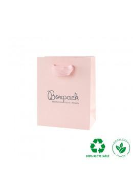 Bolsa de papel eco color rosa cuarzo y personalizada en gris mate para joyeria bisuteria y relojeria E-B-M
