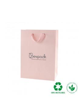 Bolsa de papel eco color rosa cuarzo y personalizada en gris mate para joyeria bisuteria y relojeria E-B-L