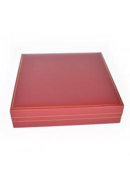Estuche rojo forrado de imitacion piel para medalla con cordon de joyeria bisuteria y joyas J-02-MC