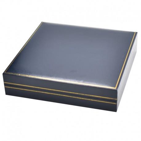 Estuche azul forrado de imitacion piel para medalla con cordon de joyeria bisuteria y joyas J-02-MC
