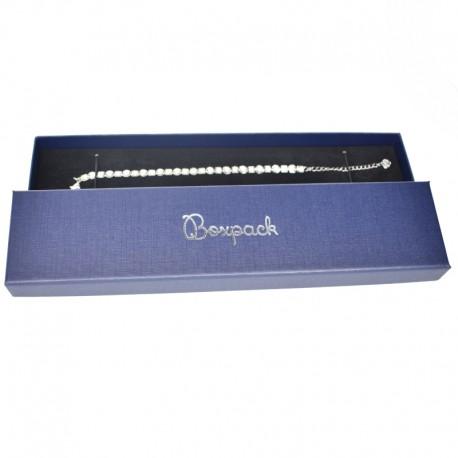 Caja de carton forrada de papel brillo para pulsera extendida de joyeria y bisuteria O-EP-51