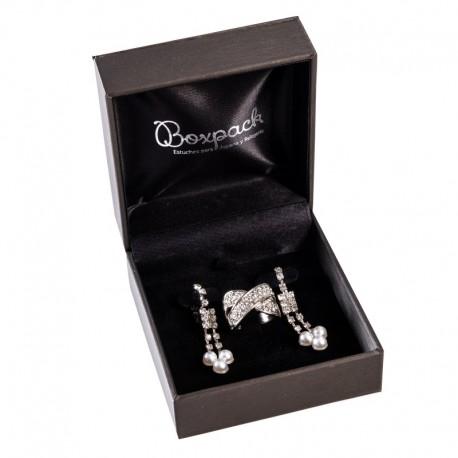Estuche forrado imitacion seda para juego de anillo y pendientes de joyeria y joyas S-66-J
