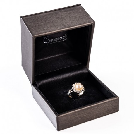 Estuche forrado imitacion seda para anillo sortija grande de joyeria y joyas con interior de patilla S-41-SP