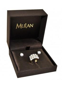 Estuche forrado de tela para juego de anillo y pendientes de joyeria bisuteria y joyas B3
