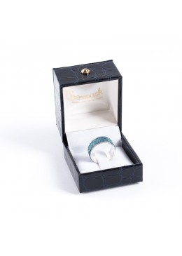 Estuche forrado de polipiel imitacion cocodrilo para sortija anillo con patilla lengueta E-6-SP