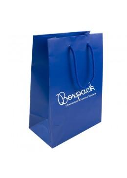 Bolsa de papel mate para joyeria bisuteria y relojeria azul B-L