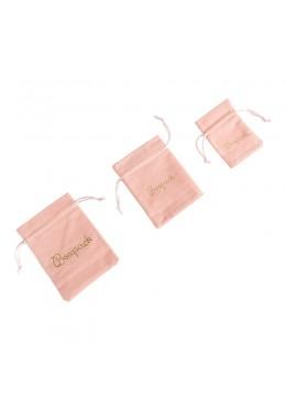 Bolsa de terciopelo color rosa palo para joyeria bisuteria y joyas (izquierda)