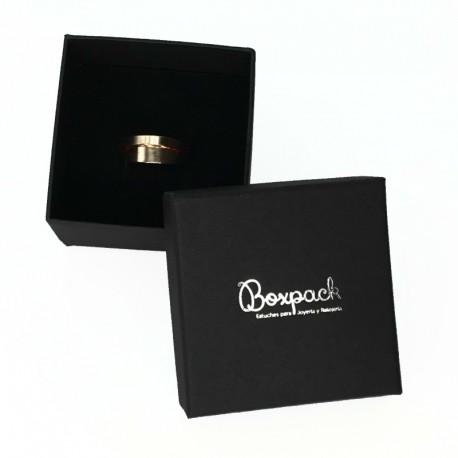 Caja de carton negra forrada de papel para anillo sortija de joyeria y bisuteria EP-43